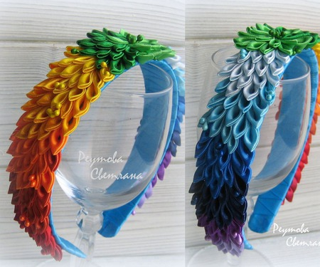 Ободок Радужный в технике канзаши ручной работы на заказ