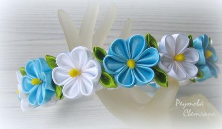 Ободок Весна в технике канзаши ручной работы на заказ