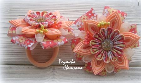 Резинка для волос Оранжевое Лето  в технике Канзаши ручной работы на заказ
