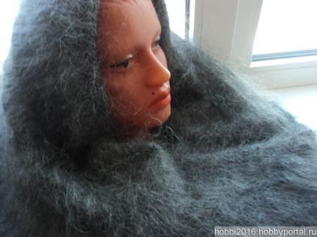 Теплая пуховая оренбургская шаль. ручной работы на заказ