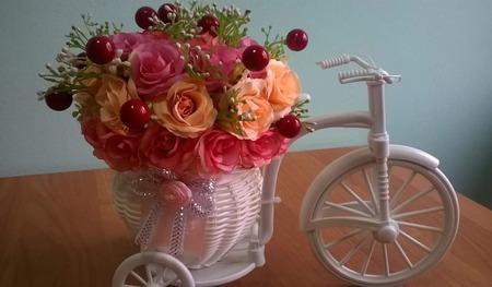"""Цветочная композиция """"Велосипед"""" ручной работы на заказ"""