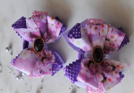 Сиреневые бантики Яблоневый цвет ручной работы на заказ