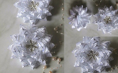 Праздничные белые банты ручной работы на заказ