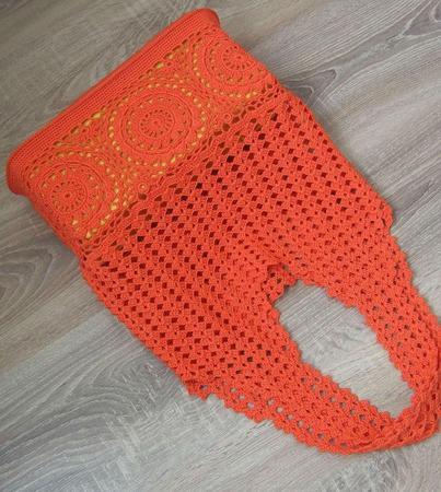 Авоська Оранжевый коралл ручной работы на заказ