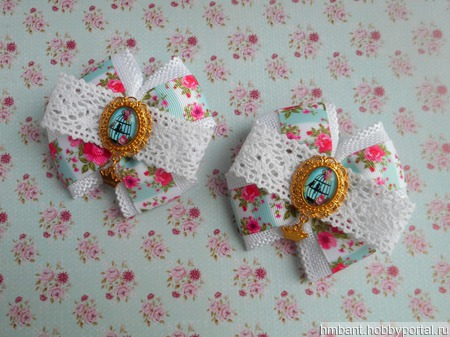 Банты на резинке в стиле шебби-шик ручной работы на заказ