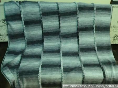Детский вязаный плед меланжевый серый ручной работы на заказ