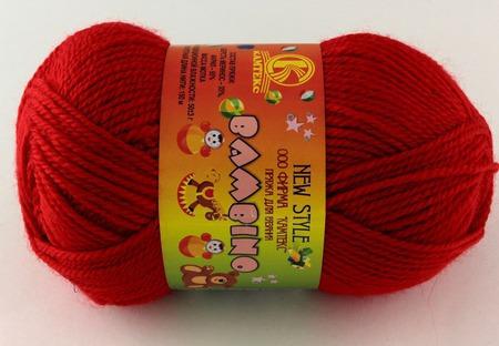 Пряжа Камтех Бамбино цвет №046 красный, шерсть меринос-35%, акрил-65% 50 гр 150 м ручной работы на заказ
