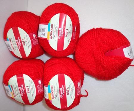 Пряжа Троицкая Детская цвет №0042 красный, 20% мерин.шерсть, 80% акрил ручной работы на заказ