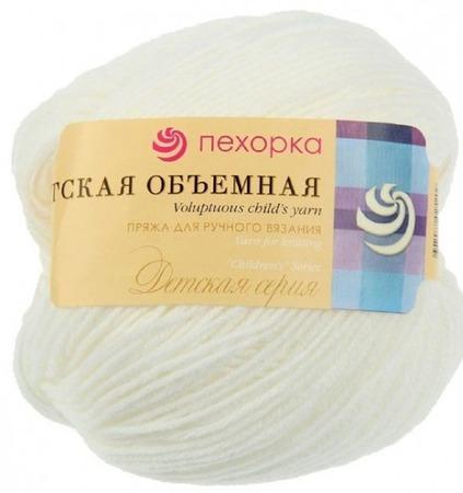 Пряжа Пехорка  Детская объемная цвет №01 белый, 100% микрофибра ручной работы на заказ