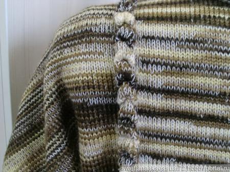 Туника вязаная меланж в бежево-коричневом цвете ручной работы на заказ