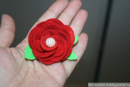 Брошь роза ручной работы на заказ