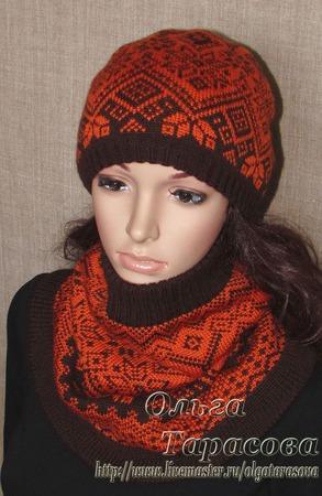 Комплект, шапка и снуд, коричнево-терракотовый ручной работы на заказ
