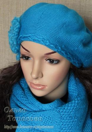 Берет и шарф цвета бирюзы ручной работы на заказ