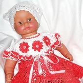 Платье ажурное вязаное крючком для девочки красное