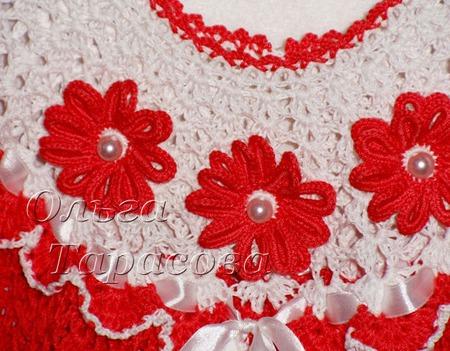 Платье ажурное вязаное крючком для девочки красное ручной работы на заказ