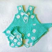 Платье+ сумочка+ косынка ажурные для девочки бирюзового цвета