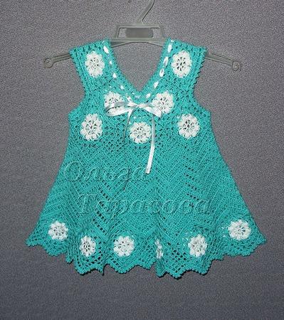 Платье+ сумочка+ косынка ажурные для девочки бирюзового цвета ручной работы на заказ