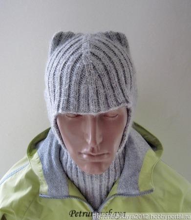 """Мужская шапка-шлем """"Нelmet"""" ручной работы на заказ"""