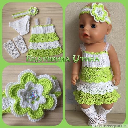 Комплект с сарафаном для куклы baby born в салатово-белом цвете ручной работы на заказ