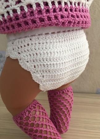 Комплект с сарафаном в цвете белый-светлый цикламен для baby born ручной работы на заказ