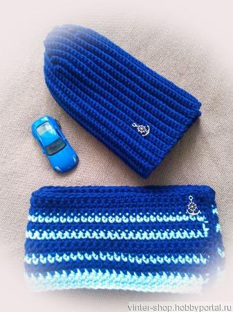 """Комплект шапочка и шарф """"Морской бриз"""" ручной работы на заказ"""