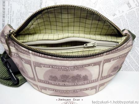 "Сумка на пояс ""Доллары"" ручной работы на заказ"