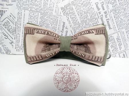 "Галстук бабочка ""Доллары"" ручной работы на заказ"