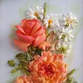Вышивка лентами  Розы и ромашки