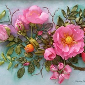 Вышивка лентами. Розовый шиповник
