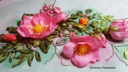 Вышивка лентами. Розовый шиповник ручной работы на заказ