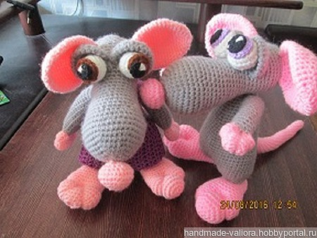 Мышь с розовыми ушами ручной работы на заказ