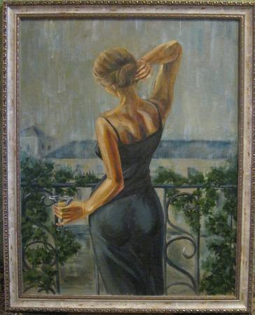 Девушка с бокалом ручной работы на заказ