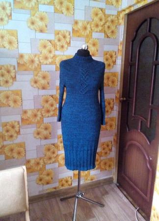 Платье теплое цвета морской волны ручной работы на заказ