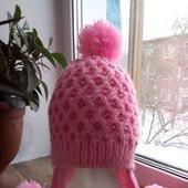 """Зимняя шапочка с ушками """"Розовая бусинка"""""""