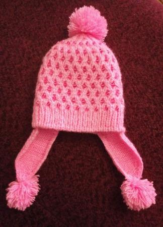 """Зимняя шапочка с ушками """"Розовая бусинка"""" ручной работы на заказ"""