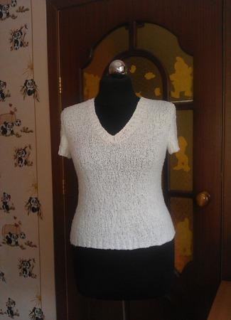 """Летний пуловер """"Белоснежное облако"""" ручной работы на заказ"""