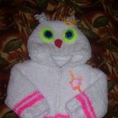 Детская вязаная куртка сова