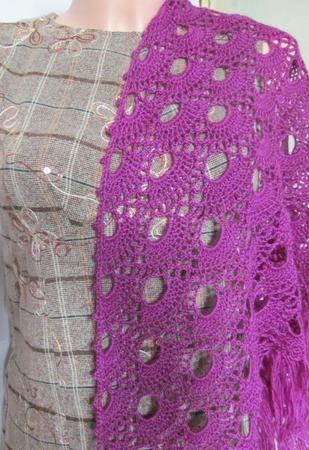 Мини-шаль вязаная Сиреневый веер ручной работы на заказ