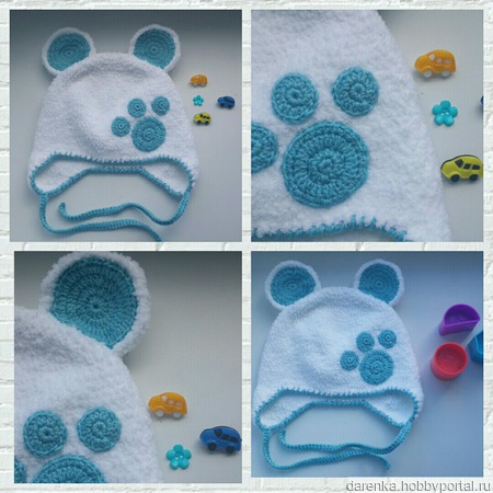 Шапочка-мишка для малыша ручной работы на заказ