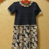 Платье ткань+вязание