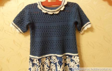 Платье ткань+вязание ручной работы на заказ