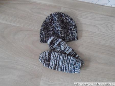 Комплект (шапочка+варежки) ручной работы на заказ