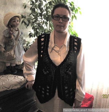 Жилет вязаный черный Ажур ручной работы на заказ