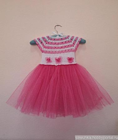 Платьице с розовой юбочкой ручной работы на заказ