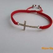 Браслет в стиле шамбала с крестом