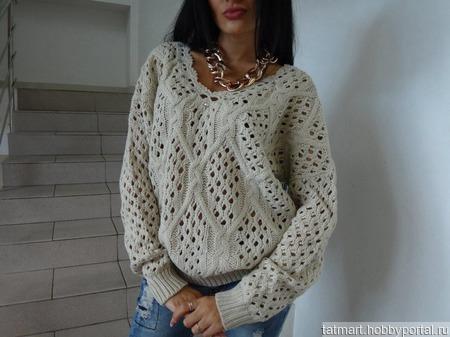 "Пуловер ""Ажурные ромбы"" ручной работы на заказ"