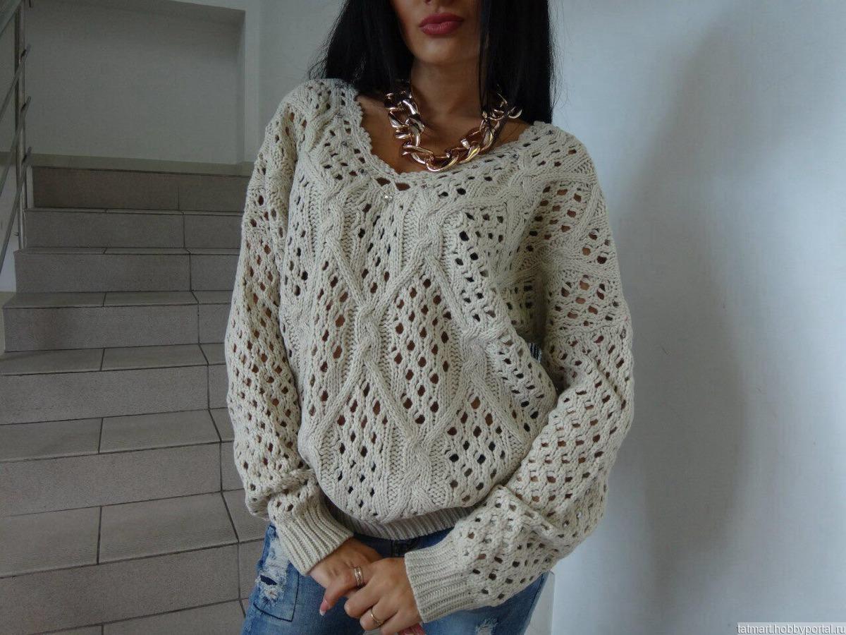 Пуловер с ажурной спинкой с доставкой