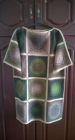 Платье-туника шерстяное большого размера ручной работы на заказ
