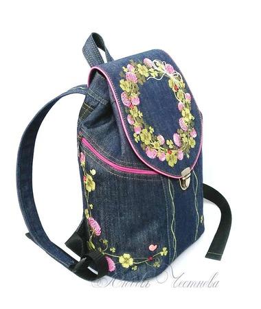Рюкзак джинсовый женский Клевер ручной работы на заказ