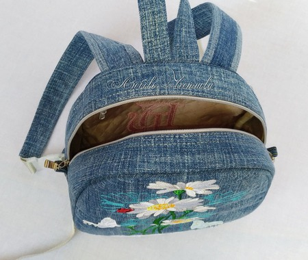 Рюкзак джинсовый женский Лето- это маленькая жизнь ручной работы на заказ